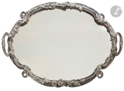 Surtout en métal argenté de forme ovale à...