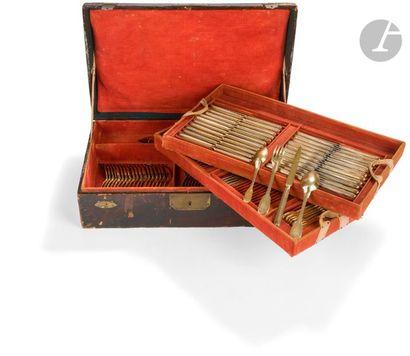 PARIS 1798 à 1838 Dans sa caisse recouverte de cuir noir de forme rectangulaire...