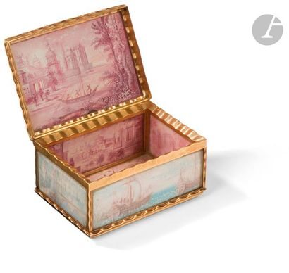 Boîte en or dite à cage ornée toutes faces...