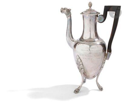 PARIS 1798 - 1809 Verseuse en argent tripode...
