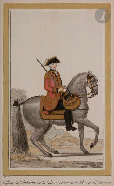 HOFFMANN (Nicolas) Costumes militaires suivant l'ordonnance de 1786. - Porte-étendard...