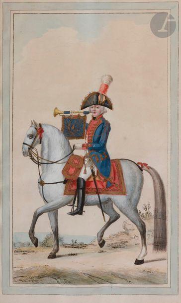 HOFFMANN (Nicolas) - Mousquetaire noir. Ancien Régime. Planche gravée et coloriée,...