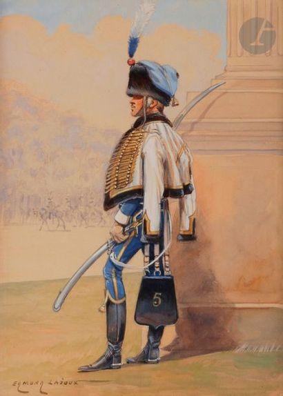 LAJOUX (Edmond) Hussards à pied du 5e. Compagnie d'élite. Premier Empire. Aquarelle...