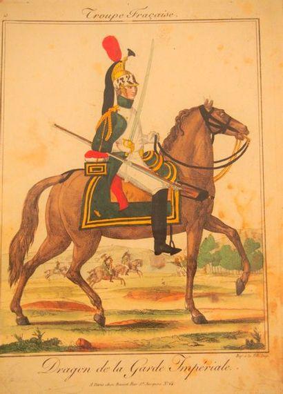 MARTINET- BASSET- GENTY Troupes françaises. Recueil d'environ 63 planches lithographiées...