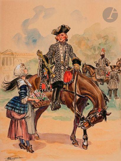 LELIEPVRE (Eugène) Trompette du régiment Colonel Général, 1721. Aquarelle signée...
