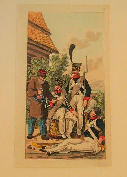 OPITZ Les armées du 1er Empire. S.l., s.d., in-4, pleine toile rouge. Avec 10 planches...