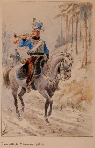 LOUIS (René) - Trompette de Hussards volontaires (1re République). Collection Dubois...