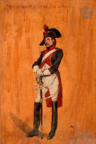 MEISSONIER (Ernest) « Attribué au 1er Régiment Grosse Cavalerie » en pied. Huile...