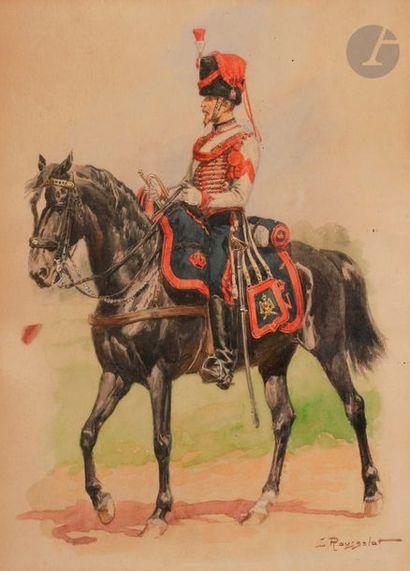 ROUSSELOT (Lucien) Trompette d'Artillerie à cheval de la Garde. Second Empire. Aquarelle...