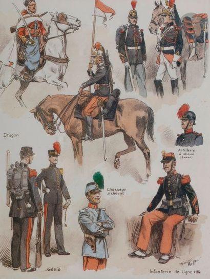 TOUSSAINT (Maurice) Uniformes des régiments français. 3 planches en couleurs tirées...