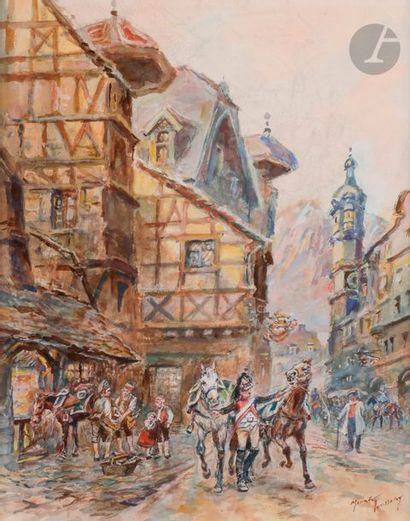 TOUSSAINT (Maurice) Scènes de rue avec un...