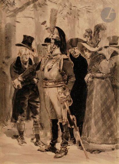 DETAILLE (Édouard, attribué à) Sous-lieutenant d'un régiment de cuirassier et civils...