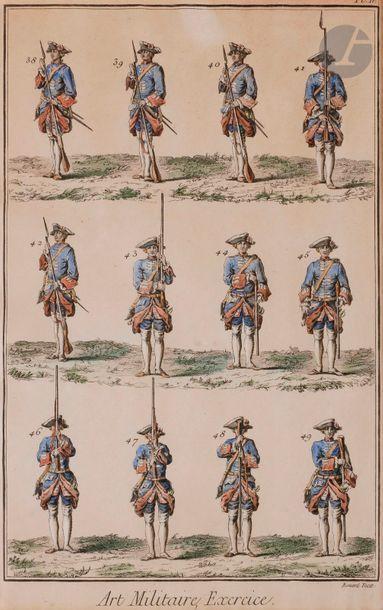 Ensemble de 5 gravures ou reproductions en couleurs civiles et militaires : - KRATKE....