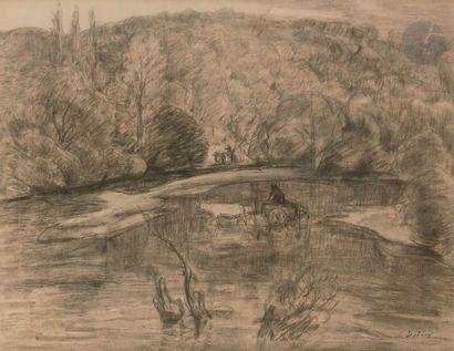 Léon DETROY (1859-1955) Paysage aux attelages...