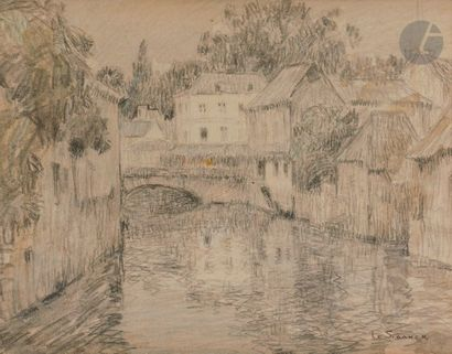 Henri LE SIDANER (1862-1939) Harfleur, canal...
