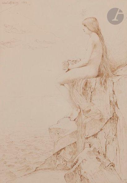 Jules LEFEBVRE (1836-1911) Psyché au bord du Styx, 1889 Encre sépia. Signée et datée...
