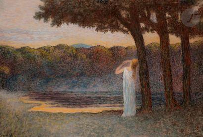 Alphonse OSBERT (1857-1939) Contemplation du soir Pastel. 22.5 x 31.5 cm