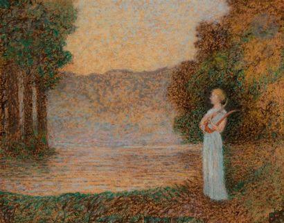 Alphonse OSBERT (1857-1939) Jeune musicienne au crépuscule Pastel. 20 x 26 cm