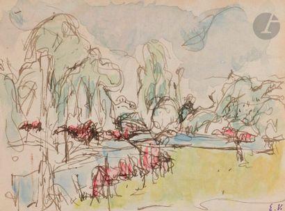 Édouard VUILLARD (1868-1940) Paysage normand, vers 1901 Mine de plomb et aquarelle....