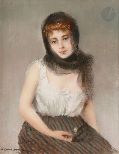 Pierre CARRIER-BELLEUSE (1851-1933) La Frileuse, 1891 Pastel. Signé et daté en bas...