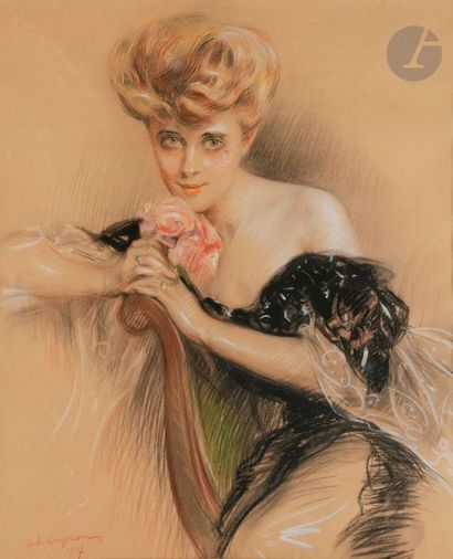 Jules CAYRON (1868-1940) Femme à la rose,...