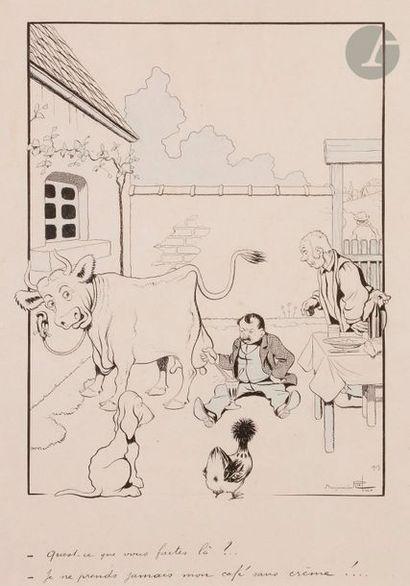 Benjamin RABIER (1869-1939) Autoportrait en trayeur de vache, 1903 Encre et crayon...