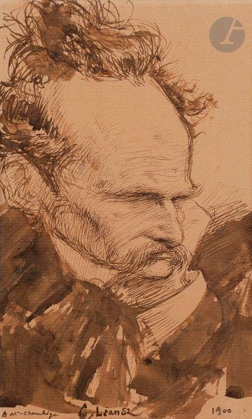 Charles LÉANDRE (1862-1934) Portrait d'homme,...