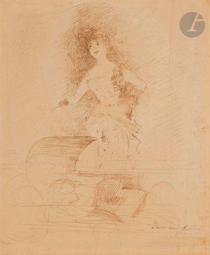 Jean-Louis FORAIN (1852-1931) La Cantatrice Encre brune. Signée et dédicacée en...