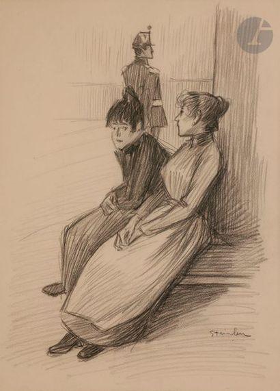 Théophile Alexandre STEINLEN (1859-1923) En attendant la visite, dessin pour les...