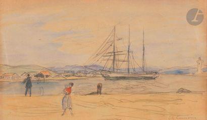 Charles CAMOIN (1879-1965) Bord de mer animé...