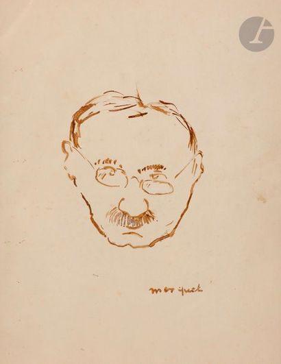 Albert MARQUET (1875-1947) Autoportrait Encre brune. Signée en bas à droite. 27...