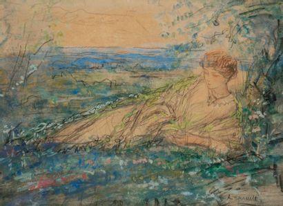 Pierre LAPRADE (1875-1931) Le Repos dans les champs Gouache et aquarelle sur traits...