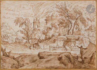 École du NORD vers 1700 Paysage classique animé Plume et encre brune, lavis brun....