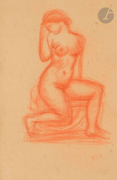 Aristide MAILLOL (1861-1944) Femme genoux...