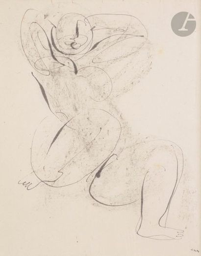 Jean FAUTRIER (1898-1964) Nu assis les bras...