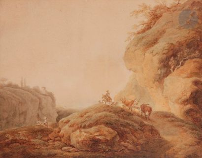 École de Philippe Jacques de Loutherbourg (1740-1812) Troupeaux dans un paysage...
