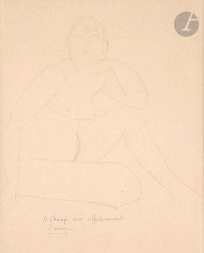 Angel ZARRAGA (1886-1946) Nu cubiste assis,...