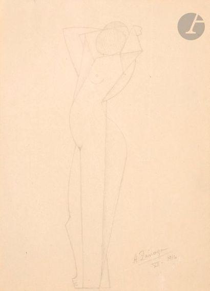 Angel ZARRAGA (1886-1946) Nu cubiste debout,...