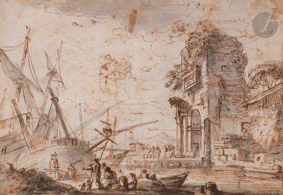 École FRANÇAISE du XVIIIe siècle Scène animée...