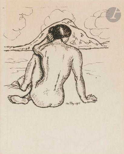 Georges DE TRAZ (1881-1955) Femme nue devant...