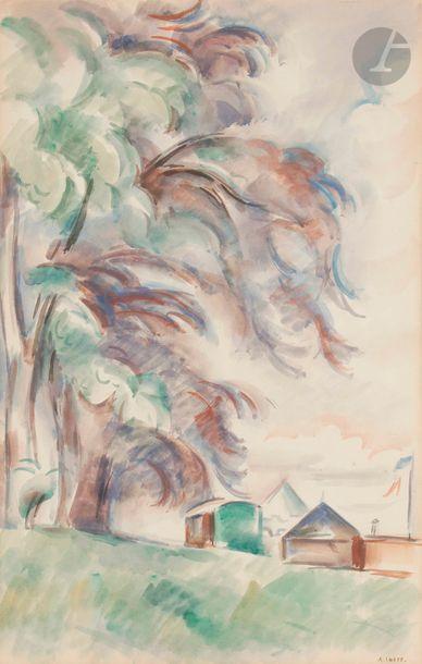 André LHOTE (1885-1962) Paysage aux forains,...