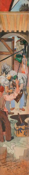 Alfred COURMES (1898-1993) Étude pour fresque...