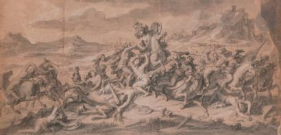 François VERDIER (1651-1730) Le Combat des Amazones avec Hercule Crayon noir, lavis...