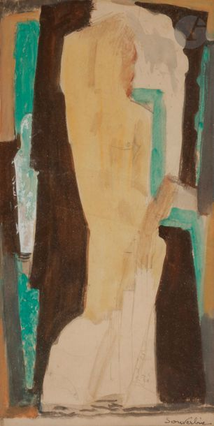 Jean SOUVERBIE (1891-1981) Nu le bras levé...