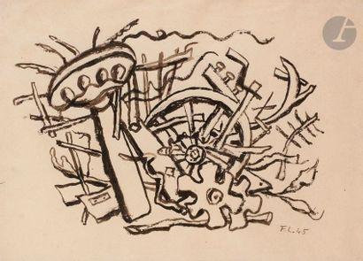Fernand LéGER (1881-1955) Paysage à la roue,...