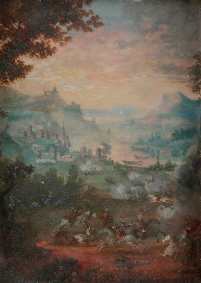 École FRANÇAISE du début du XVIIIe siècle Scène de bataille Gouache. (Quelques épidermures)....