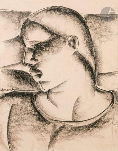 Auguste MAMBOUR (1896-1968) Profil de femme...