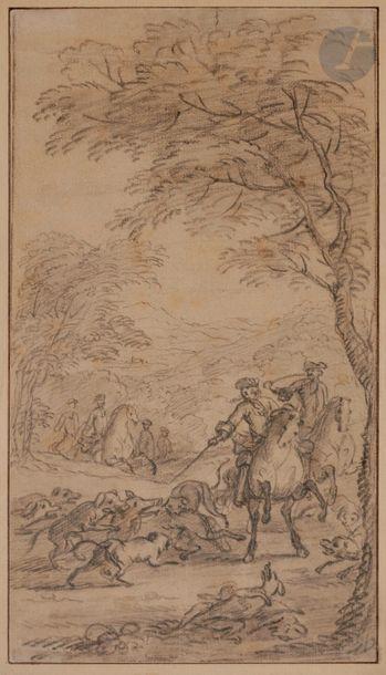 Attribué à Charles PARROCEL (1688-1752) La Chasse aux sangliers Crayon noir. 26.5...