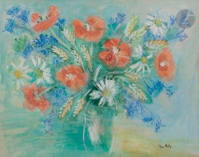 Jean DUFY (1888-1964) Vase de fleurs Gouache....