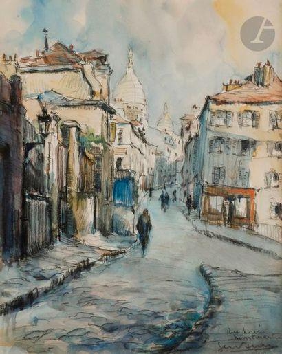 GEN-PAUL (1895-1975) La Rue de Norvins, Montmartre,...